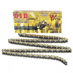 DID Цепь VX 525 G&B 100 звеньев с замком-заклепкой, золотая