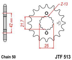 JTF513.17 Звезда ведущая 17 зубов, аналог JTF566.17, JTF519.17